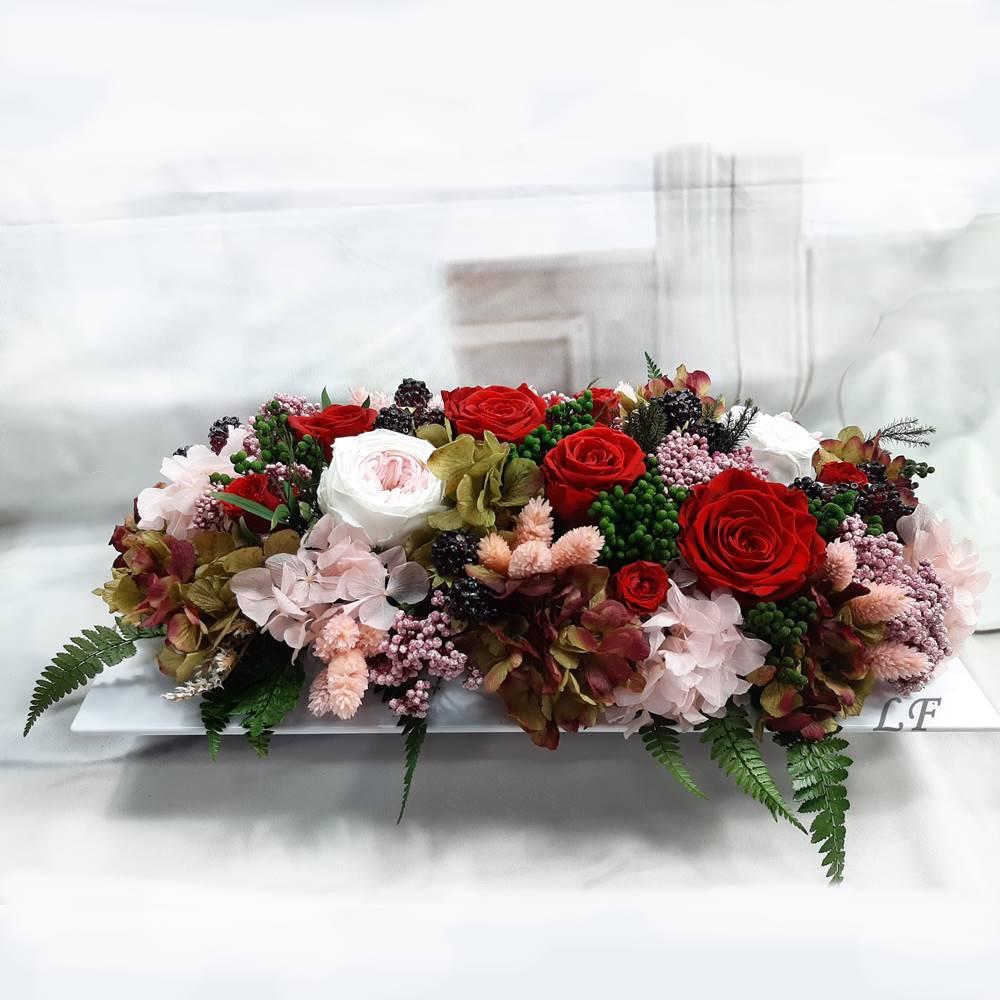 Centro de mesa flores preservadas y artificiales - Verdissimo
